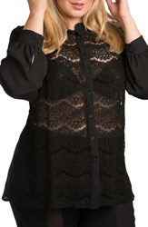 Standards And Practices Plus Size Women's Coco Lace Front Shirt