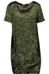 Nina Ricci Crinkled Satin Mini Dress Forest Green