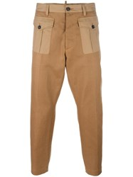Dsquared2 Cropped Front Pocket Trousers Brown