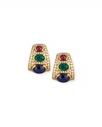 Alexander Laut Blue Sapphire Emerald And Ruby Cabochon Earrings With Diamonds