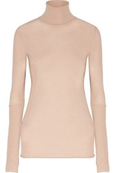 Enza Costa Cotton And Cashmere Blend Turtleneck Sweater Sand
