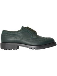 Burberry Brogue Detail Grainy Leather Derby Shoes Green