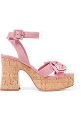Miu Miu Satin Trimmed Suede And Cork Platform Sandals Baby Pink