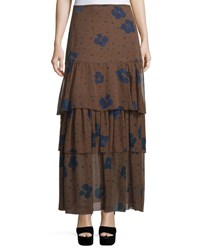 See By Chloe Floral Silk Tiered Maxi Skirt Coffee