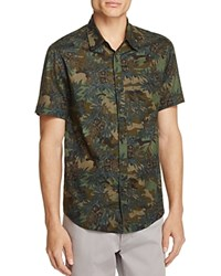 Blank Nyc Blanknyc Floral Print Linen Slim Fit Button Down Shirt Camo