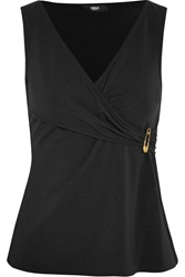 Versus Draped Stretch Jersey Crepe Wrap Effect Top