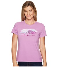 Life Is Good Stonger The Wind Stronger The Trees Crusher Tee Dusty Orchid Women's T Shirt White