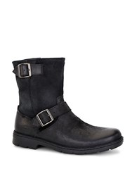 Ugg Messner Shearling Lined Leather Moto Boots Black