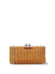 Rodo Leather Trimmed Wicker Clutch Camel