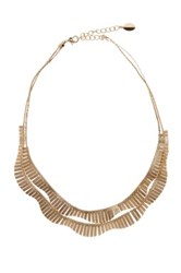 Spring Street Double Gold Metal Collar Necklace Metallic