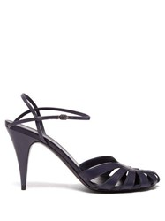 The Row Tango Cut Out Leather Sandals Navy
