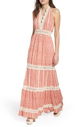 Lost Wander Sun's Out Halter Maxi Dress Coral
