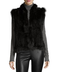 Belle Fare Knitted Rabbit Fur Vest W Fox Fur Trim Black