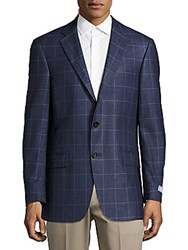Hart Schaffner Marx Regular Fit Plaid Worsted Wool Sportcoat Blue Plaid
