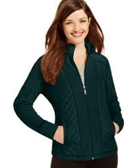 Styleandco. Style And Co. Sport Petite Mixed Media Zip Up Track Jacket Only At Macy's Evergreen