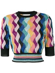 Laneus Multicoloured Knitted Top Black
