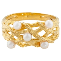 London Road Burlington 9Ct Yellow Gold And Pearl Willow Ring M