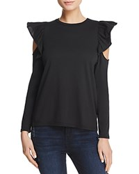 Michelle By Comune Edison Ruffled Cold Shoulder Tee Black