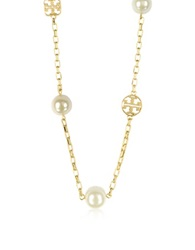 Tory Burch Gold Plated Evie Logo Chain Rosary Necklace Ivory