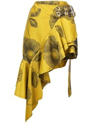 Marques Almeida Marques'almeida Belted Floral Ruffle Skirt Yellow And Orange