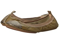 Yosi Samra Samantha Soft Leather Fold Up Flat W Crackled Metallic Captoe Millitary Green Pure Gold Women's Shoes Brown
