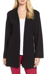 Chaus Women's Long Sleeve Beaded Cardigan Rich Black