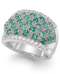 Macy's Emerald 1 1 6 Ct. T.W. And White Sapphire 7 8 Ct. T.W. Ring In Sterling Silver