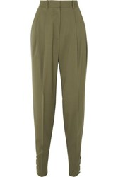Altuzarra Atomica Pleated Wool Blend Tapered Pants Gray