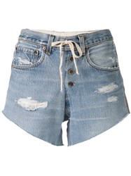 Greg Lauren Side Stripe Denim Shorts Blue