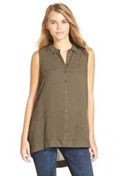 Junior Women's Lush Button Front Sleeveless Tunic Olive