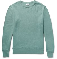 Hartford Loopback Slub Cotton Jersey Sweatshirt Gray Green