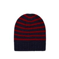 Barneys New York Striped Cashmere Hat Navy