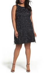 Adrianna Papell Plus Size Women's Beaded A Line Dress Black