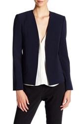 Ellen Tracy Structured Pocket Blazer Blue