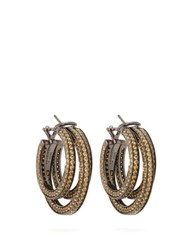 Lynn Ban Sonic Topaz And Rhodium Plated Hoop Earrings Yellow