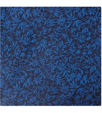 Duchamp Contrast Floral Silk Pocket Square Blue