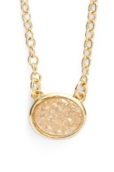 Sonya Renee Oval Drusy Pendant Necklace White