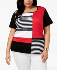 Alfred Dunner Barcelona Plus Size Embellished Colorblocked Top Multi