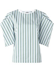 Msgm Oversized Sleeves Striped Blouse White