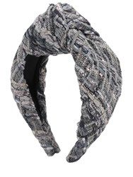 Eugenia Kim Maryn Cotton Blend Tweed Turban Headband Grey