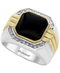 Effy Men's Onyx 10 X 10Mm And Diamond 1 5 Ct. T.W. In Sterling Silver And 14K Gold Two Tone