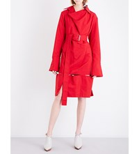 Marni Patchwork Crepe And Cotton Twill Shirt Dress Red