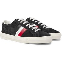 Moncler New Monaco Leather And Suede Sneakers Gray
