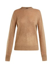 Joseph Brushed Mohair Blend Crew Neck Sweater Camel