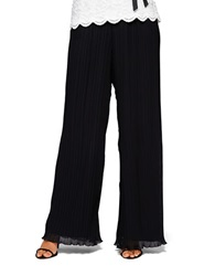 Alex Evenings Chiffon Accordion Pleated Pants Black