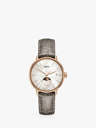 Rado R22885945 Ladies Coupole Classic Date Leather Strap Watch Silver Gold