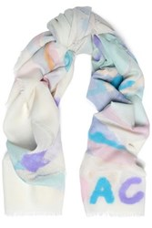 Coach Flocked Printed Wool Scarf Off White Off White