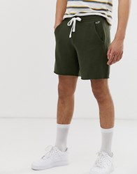 Hollister Icon Logo Terry Prep Sweat Shorts In Olive Green