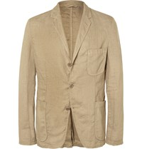 Aspesi Sand Slim Fit Unstructured Linen Blazer Neutrals