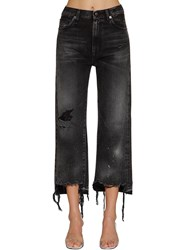 R 13 Camille High Rise Distressed Denim Jeans Washed Black